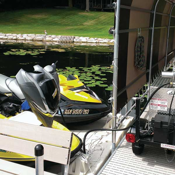 Gas Trailer Fueling Jet Ski on the Water