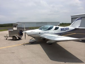 Piper Sport Airplane with Gas Trailer